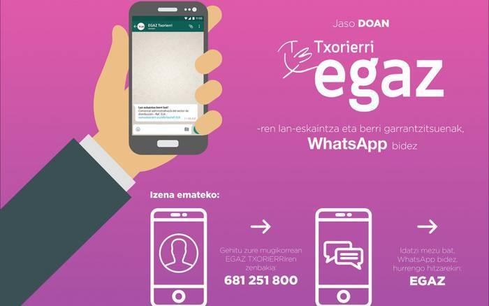 Lan-eskaintzak WhatsApp bidez jasotzeko aukera ematen du EGAZ Txorierrik